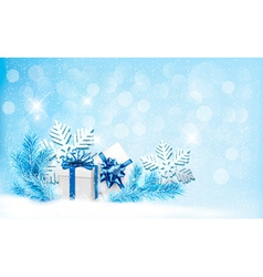 Christmas blue background with gift boxes and vector