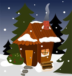 Cozy winter cabin vector