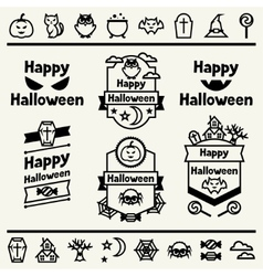 Happy halloween set of badges and icons vector