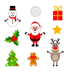 Set of colorful christmas decorations vector
