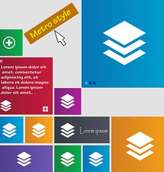 Layers icon sign metro style buttons modern vector