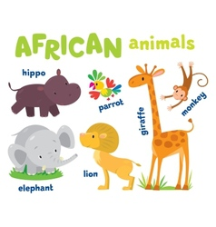 Set of funny african animals vector