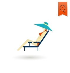 Summer and beach simple flat icon vector