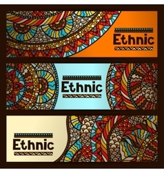 Ethnic banners design with hand drawn ornament vector