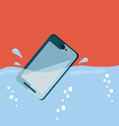 Smart phone drop into the water with splashes vector