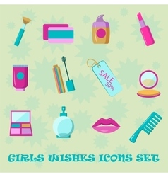Girls wishes icon set flat style shopping vector