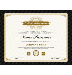 Vintage retro art deco frame certificate template vector