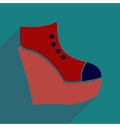 Flat icon with long shadow platform shoes vector