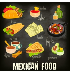Mexican food chalk vector