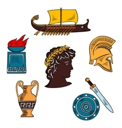 Art and history of ancient greece colorful sketch vector