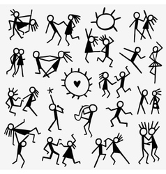 Dancing people doodles vector