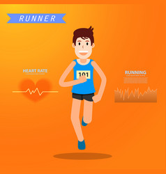 Active young man running infograhpic for marathon vector
