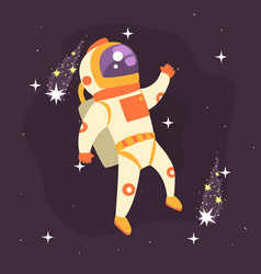 astronaut working in outer space vector image