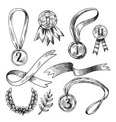 Award decorative icons set vector image