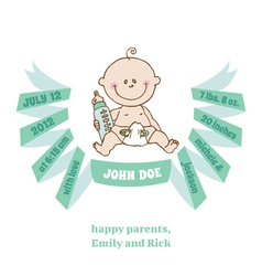 Baby shower and arrival card - baby theme vector