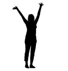 black silhouettes woman lifted his hands on white vector image vector image