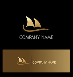 boat sail ocean gold logo vector image vector image
