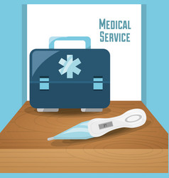 Briefcase with thermometer tool to medical service vector