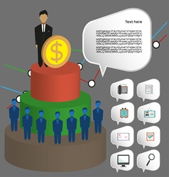 Business infographic with icons persons 3d pie cha vector