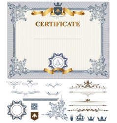 Certificate with design elements vector