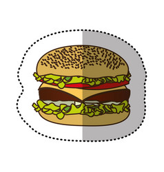 Color hamburger fast food icon vector
