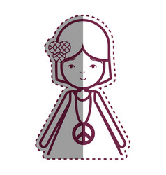 Contour woman peace and love relax vector