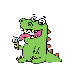 Cute dinosaur eating ice cream vector