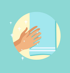 Drying hands with a towel round vector