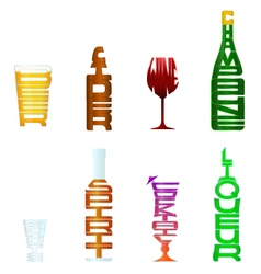 Figurative typography alcohol vector