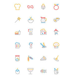 Food colored outline icons 5 vector