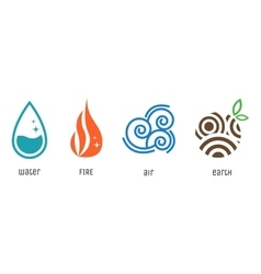 Four elements flat style symbols water fire air vector