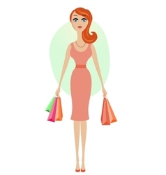 Happy shopping girl vector image