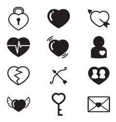 Heartslovercouple concept icons set vector
