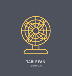 Household supply line logo flat sign of table fan vector