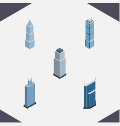 Isometric construction set of business center vector