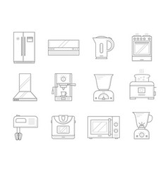 kitchen appliances icons vector image