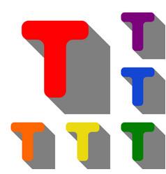 letter t sign design template element set of red vector image