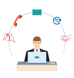 Male working in a call center support service vector