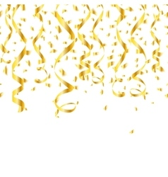Party golden confetti streamers vector image