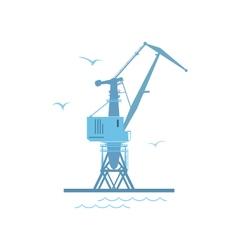 Port cargo crane isolated on white vector