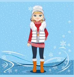 pretty girl on a winter background vector image