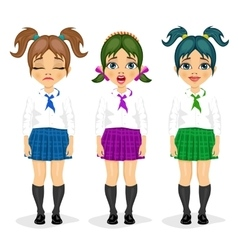 schoolgirl expressions with different hairstyles vector image vector image