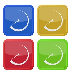 Set of four square icons with dial symbol vector