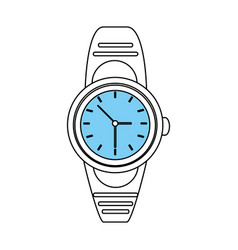 Sketch color silhouette of analog male wristwatch vector
