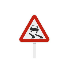 Slippery when wet road sign icon flat style vector