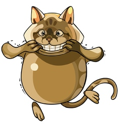 toothy smiling cartoon cat vector image