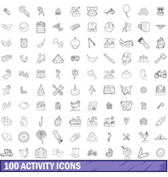 100 activity icons set outline style vector