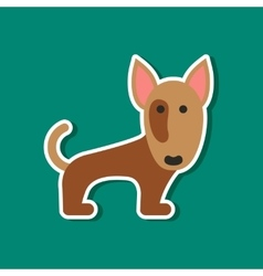 Paper sticker on stylish background pet dog vector