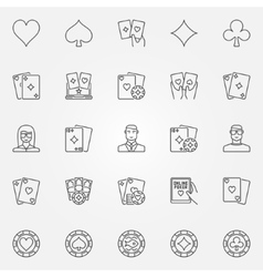 Poker line icons set vector