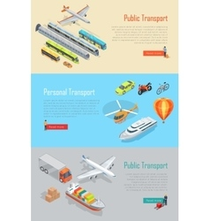 Public and personal transport banners set vector